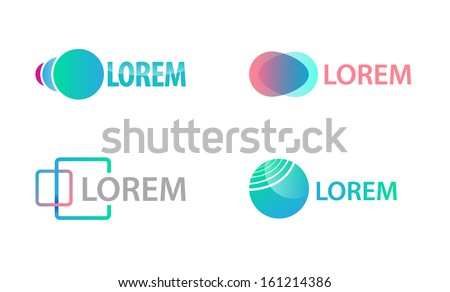 vector set of creative abstract modern green and red logos for company isolated, identity - stock vector