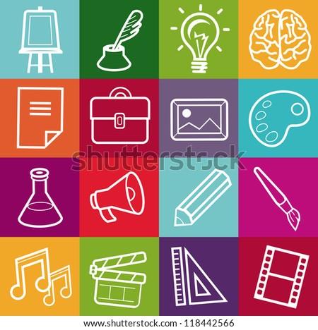 Vector set of creative icons - design elements for portfolio - stock vector