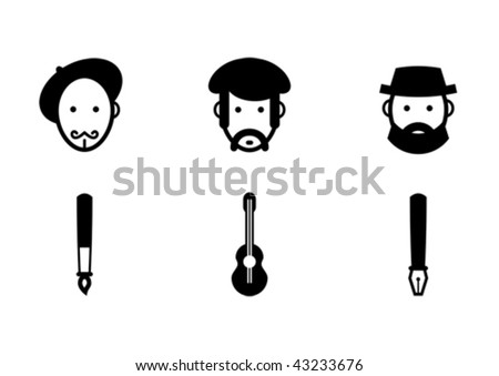Vector set of creative professions: painter, musician and writer. - stock vector