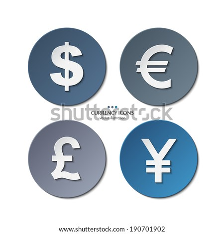 Vector set of currency icons, dollar, euro, pound, yen. - stock vector