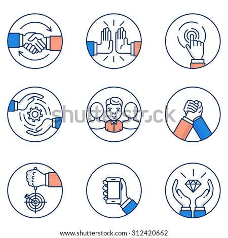 Vector set of customer relationship management and business negotiation icons. Flat linear pictograms and infographics design elements - stock vector