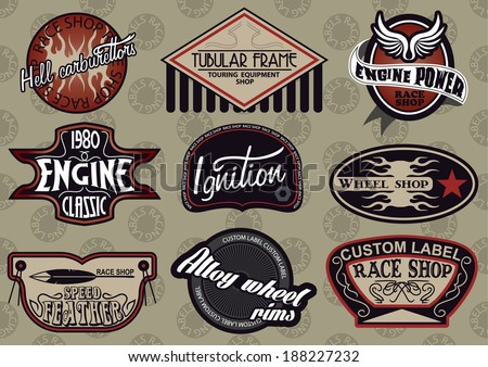 Vector set of customizable motor sports style labels
