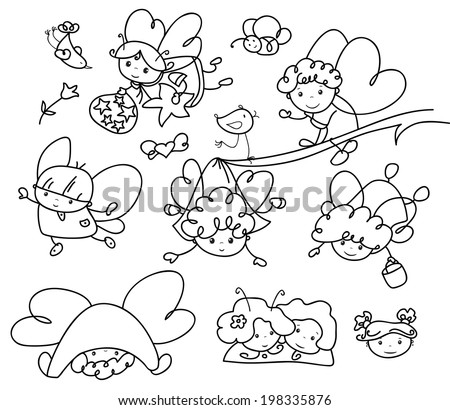 Vector set of cute angels cartoons silhouettes. - stock vector