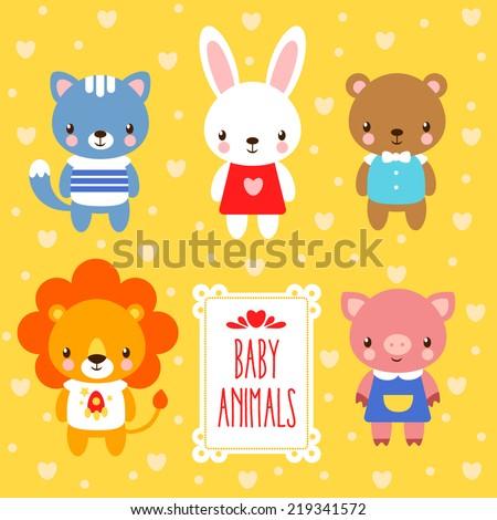 Vector set of cute baby animals. - stock vector