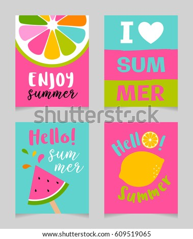 Vector Set Of Cute Bright Summer Holidays Concept For Greeting Card, Beach  Party, Banner
