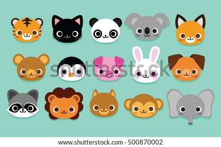 Animal head stock images royalty free images vectors shutterstock vector set of cute cartoon animals isolated voltagebd Gallery
