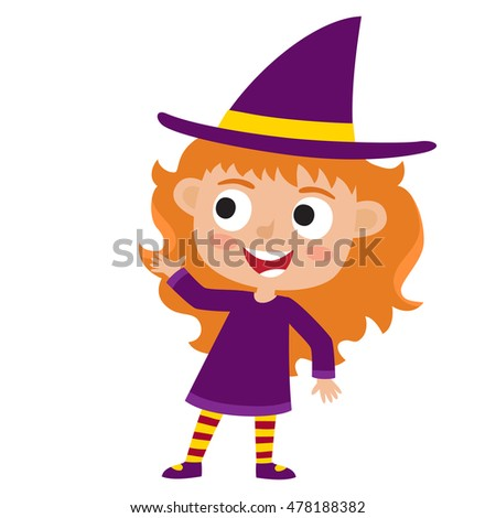 vector set of cute cartoon kid in colorful halloween costume witch cartoon character design - Halloween Witch Cartoon