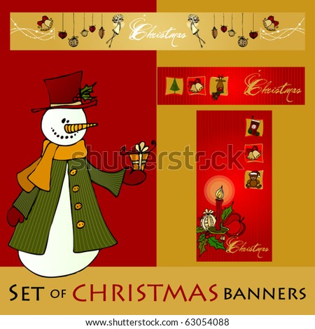 vector set of cute Christmas banners - stock vector