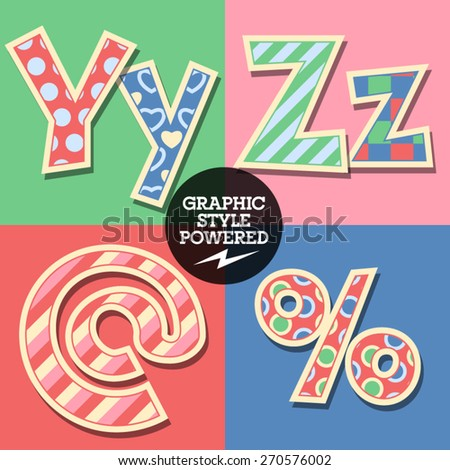 Vector set of cute colorful children font. Uppercase and lowercase letters  - stock vector
