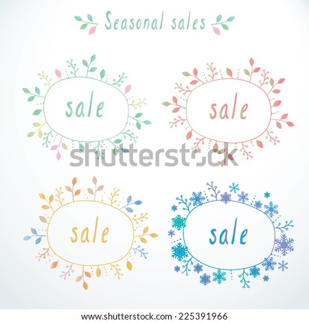 Vector set of cute doodle sale banners, labels, templates for all seasons - stock vector
