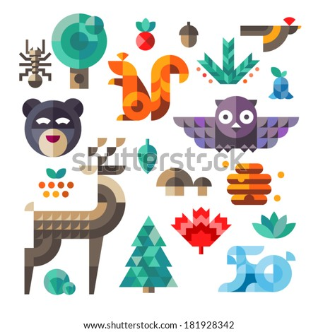 Vector set of cute flat various forest icons, geometric proportions. Forest animals contain owl, deer, squirrel, rabbit. - stock vector