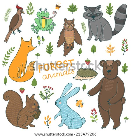 Vector set of cute hand drawing forest animals: squirrel, rabbit, bear, hedgehog, fox, raccoon, owl, frog, woodpecker and floral elements: leaves, branches, berries. - stock vector