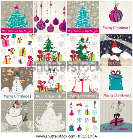 Vector set of cute hand drawn style Christmas illustrations - stock vector