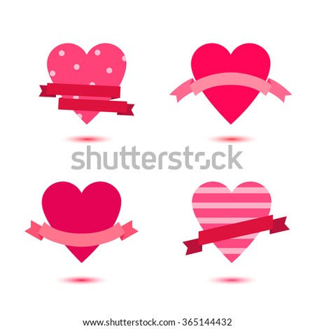 Vector set of cute hearts with ribbons, heart badges, st Valentine's icons, ideas. Love, wedding banners - stock vector