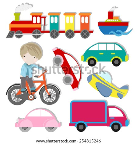 vector set of cute kids transportation element design