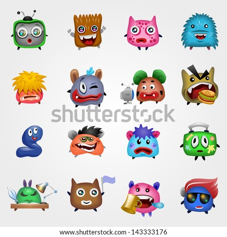 Vector Set of Cute Monsters. Eps 10 - stock vector