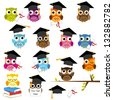 Vector Set of Cute School and Graduation Themed Owls - stock vector