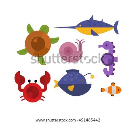 Vector set of cute sea animals creatures characters. Cartoon ocean underwater crab sea animals. Cute aquarium life water collection isolated turtle graphic aquatic tropical sea animals. - stock vector