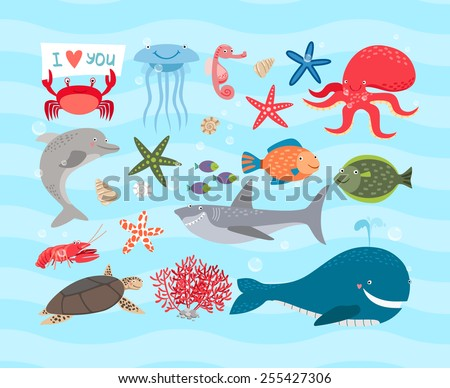 Vector set of cute sea animals. Dolphin and octopus and turtle, jellyfish and sea horse, shark and cancer, whale and fish, starfish and corals - stock vector