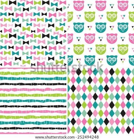 Vector Set Of Cute Seamless Backgrounds In Pink And Green Sweet Hipster For Girls