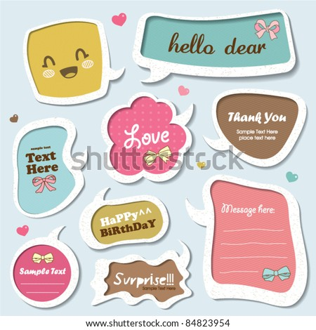vector set of cute speech bubbles, stickers, text box template... - stock vector