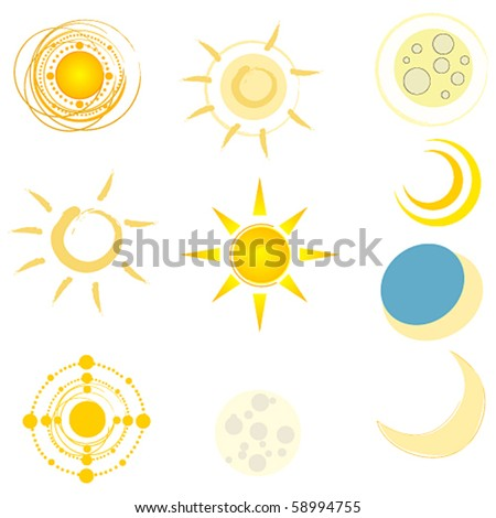 Vector set of cute suns and moons - stock vector