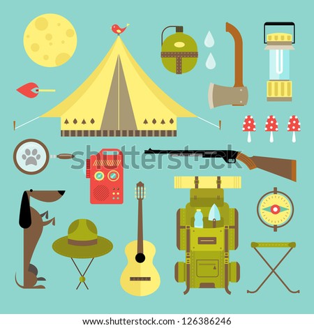 Vector set of cute various camping icons - stock vector
