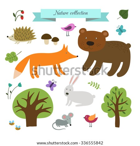 Vector set of cute wild animals in the forest.