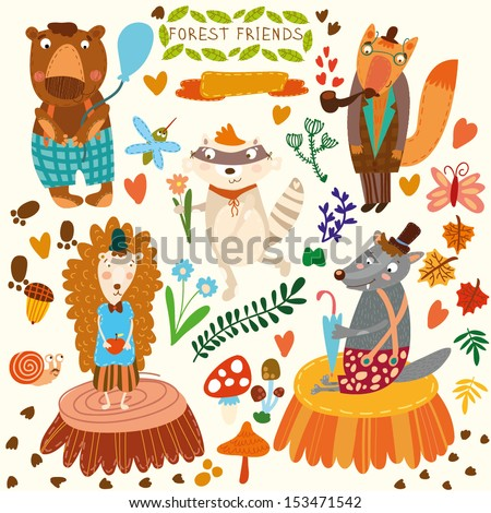 Vector Set of Cute Woodland and Forest Animals. Bear, hedgehog, fox, wolf, raccoon,mosquito, snail, butterfly.(All objects  are isolated groups so you can move and separate them) - stock vector