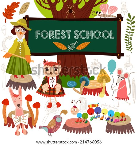 Vector Set of Cute Woodland and Forest Animals in School.  Crow, fox, hare, millipede, mouse, butterfly.(All objects are isolated groups so you can move and separate them) - stock vector