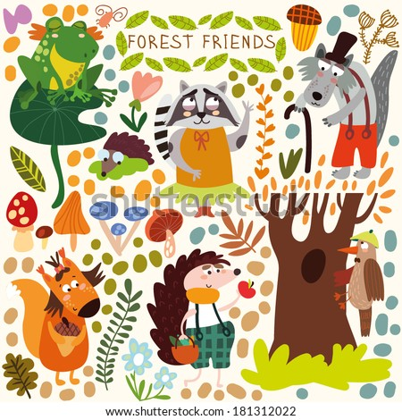 Vector Set of Cute Woodland and Forest Animals. Squirrel, frog, woodpecker, hedgehog, wolf, raccoon, butterfly.(All objects are isolated groups so you can move and separate them) - stock vector