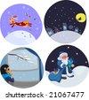 vector set of cute xmas illustrations - stock vector
