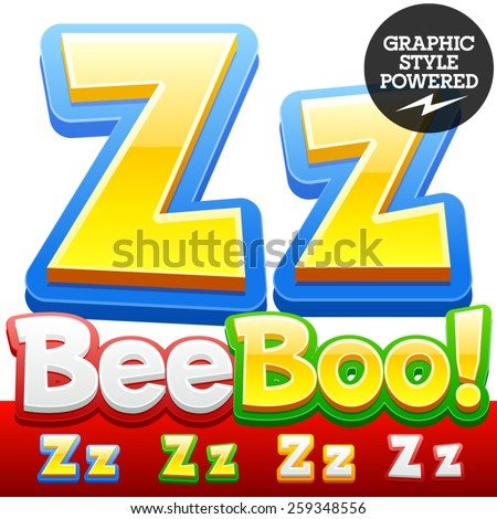 Vector set of 3D colorful children font in cartoon style. Optional different colors. Letter Z - stock vector