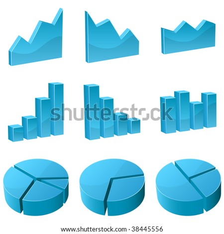 Vector set of 3D graph icons isolated on white background. - stock vector