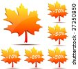 Vector set of 3D maple leaf discount labels isolated on white background. - stock vector