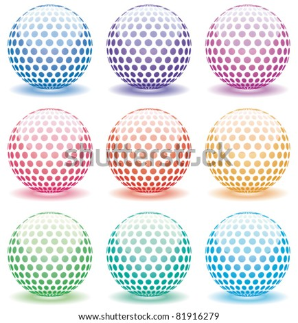 vector set of 3d shiny globes of different colors - stock vector