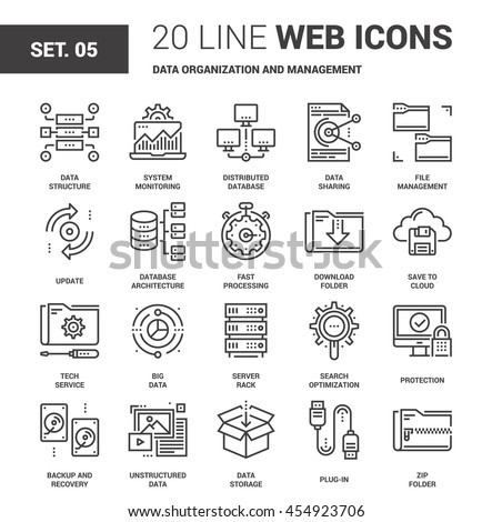 Vector set of data organization and management line web icons. Each icon with adjustable strokes neatly designed on pixel perfect 64X64 size grid. Fully editable and easy to use.
