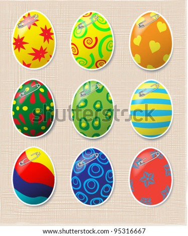 Vector set of decorated Easter eggs