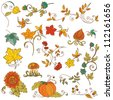 Vector set of decorative Autumn branches, leaves - for scrapbook and design in vector - stock vector