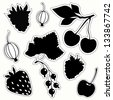 Vector set of decorative berries sticker. Black silhouettes on white background. - stock vector