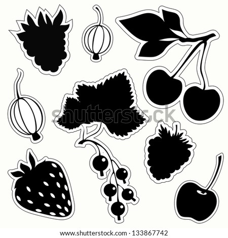 Vector set of decorative berries sticker. Black silhouettes on white background.