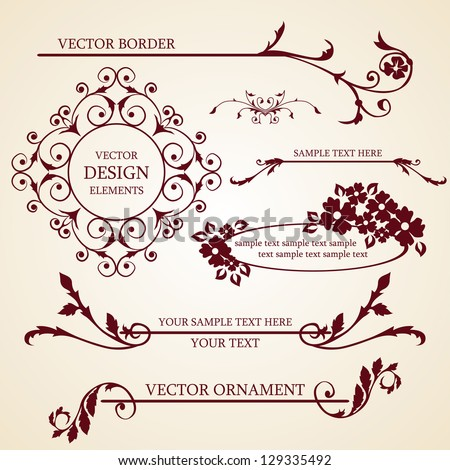 Vector set of decorative borders and frames - stock vector