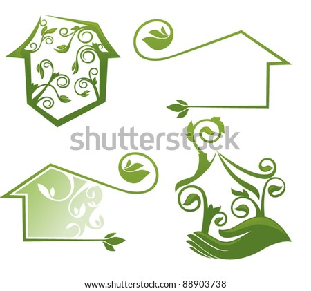 vector set of decorative ecological homes, signs and icons