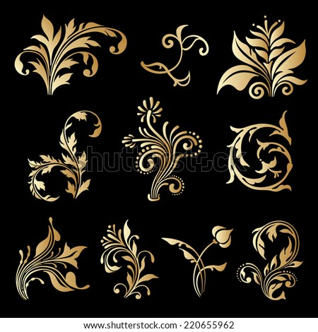 Vector set of decorative elements for design, print, embroidery. - stock vector