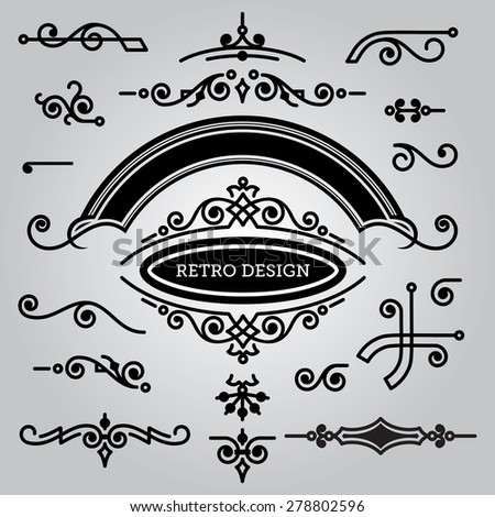 vector set of decorative elements in vintage style for design - stock vector