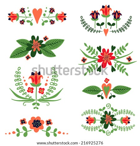 Vector set of decorative floral compositions with flowers, leaves, hearts - stock vector