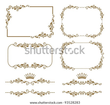 Vector set of decorative horizontal elements, border and frame. Basic elements are grouped. - stock vector