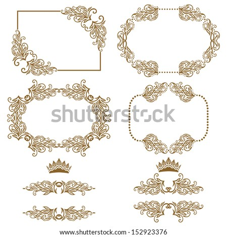 Vector set of decorative horizontal elements, border and frame.  Page decoration. - stock vector