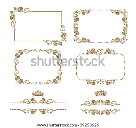 Vector set of decorative horizontal elements, border, frame. Page decoration. - stock vector
