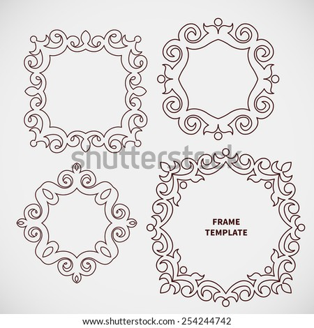 Vector set of decorative line art frame for design template. Elegant element for logo design, place for text. Black outline floral border. Lace illustration for invitations and greeting cards. - stock vector